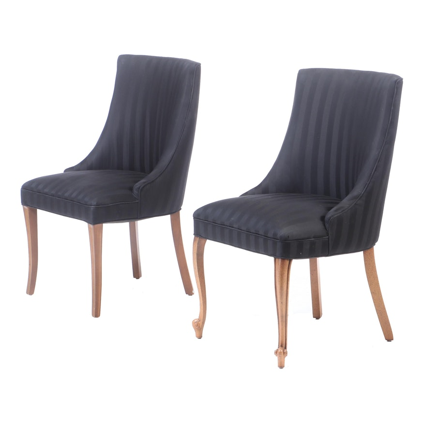 Assembled Pair of Striped Upholstered Host Chairs, Late 20th Century