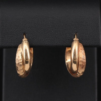 14K Yellow Gold Crossover Hoop Earrings