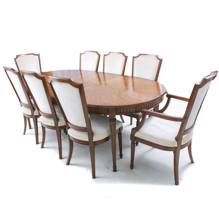 """Kindel Furniture Walnut """"Bleuclair"""" Dining Table and Chairs, 1972"""