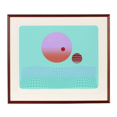 "Rudy Ayoroa Abstract Serigraph ""Landscape & UFO"", 1983"