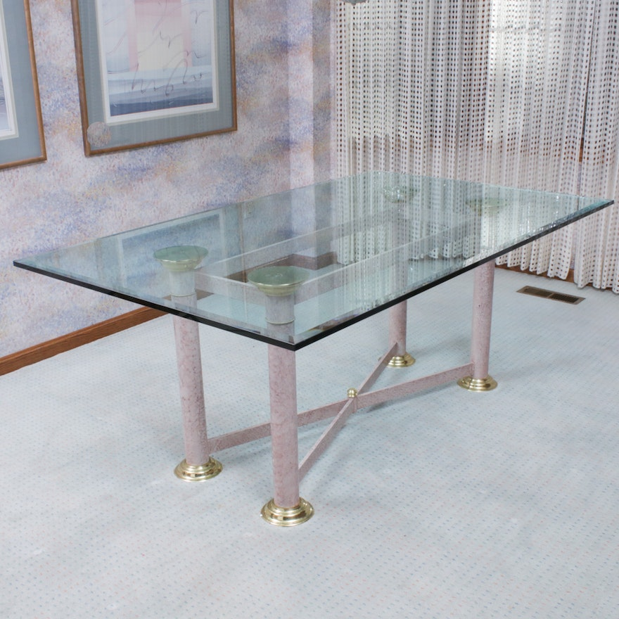 Brass-Mounted, Marbleized-Metal, and Glass Top Dining Table, Late 20th Century