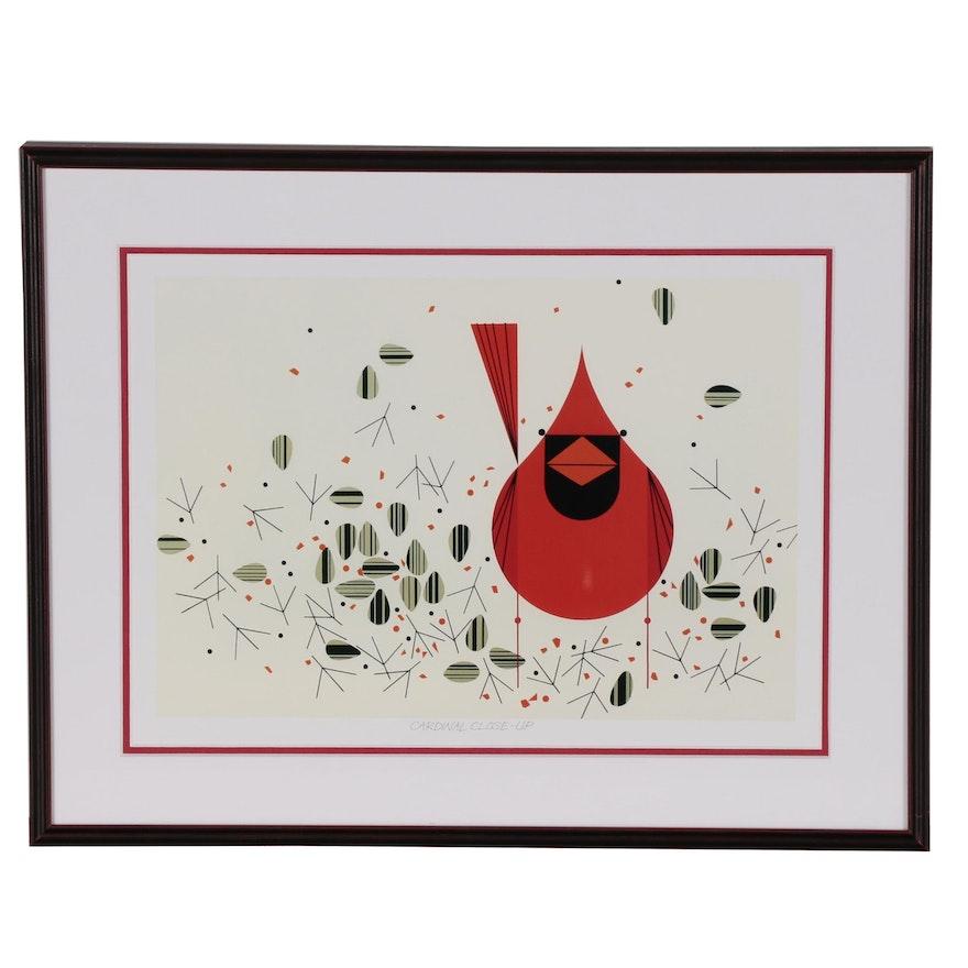 "Offset Lithograph after Charley Harper ""Cardinal Close-Up"""