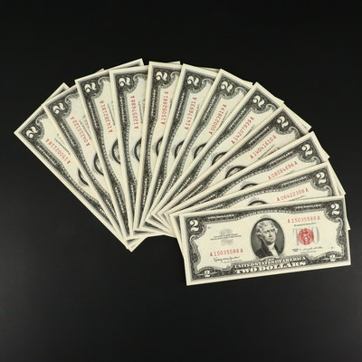 Twelve 1963 U.S. $2 Legal Tender Notes
