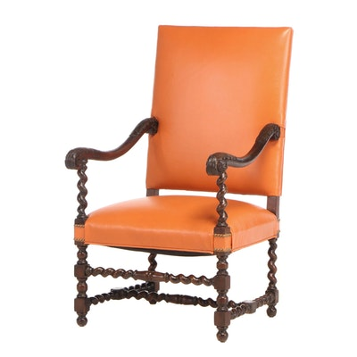 Renaissance Style Mahogany Uplostered Arm Chair, Early 20th Century