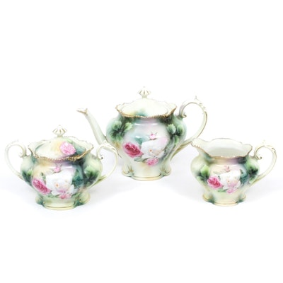 R.S. Prussia Hand-Painted Porcelain Rose Tea Service, Early 20th Century