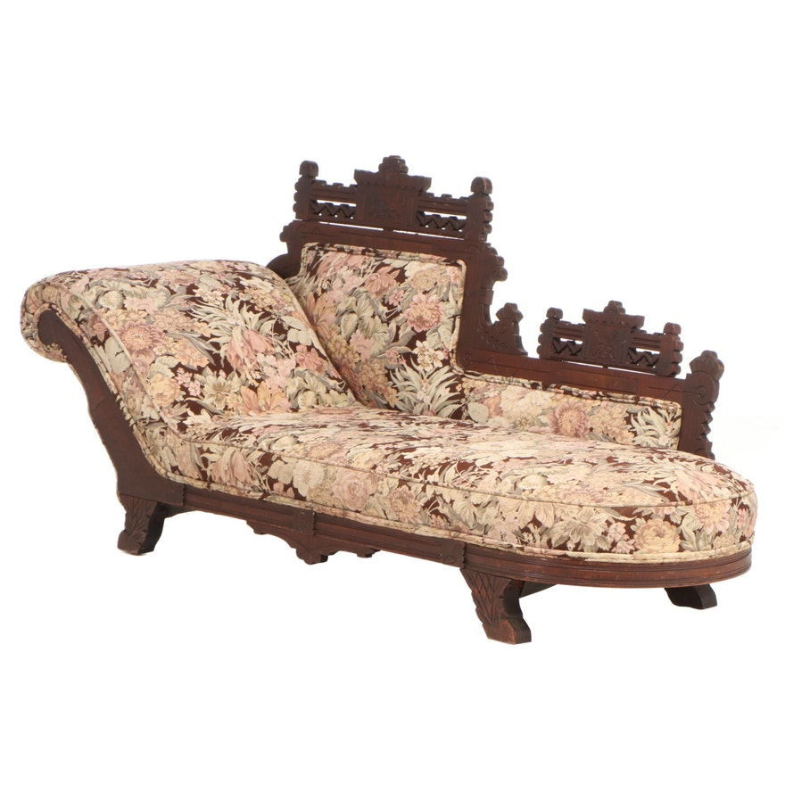 Victorian Eastlake Mahogany Upholstered Settee, Late 19th Century