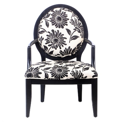 Black Lacquered Armchair in Woven Floral Print, 21st Century