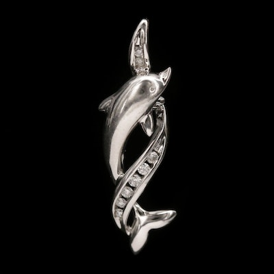 10K White Gold Diamond Dolphin Pendant