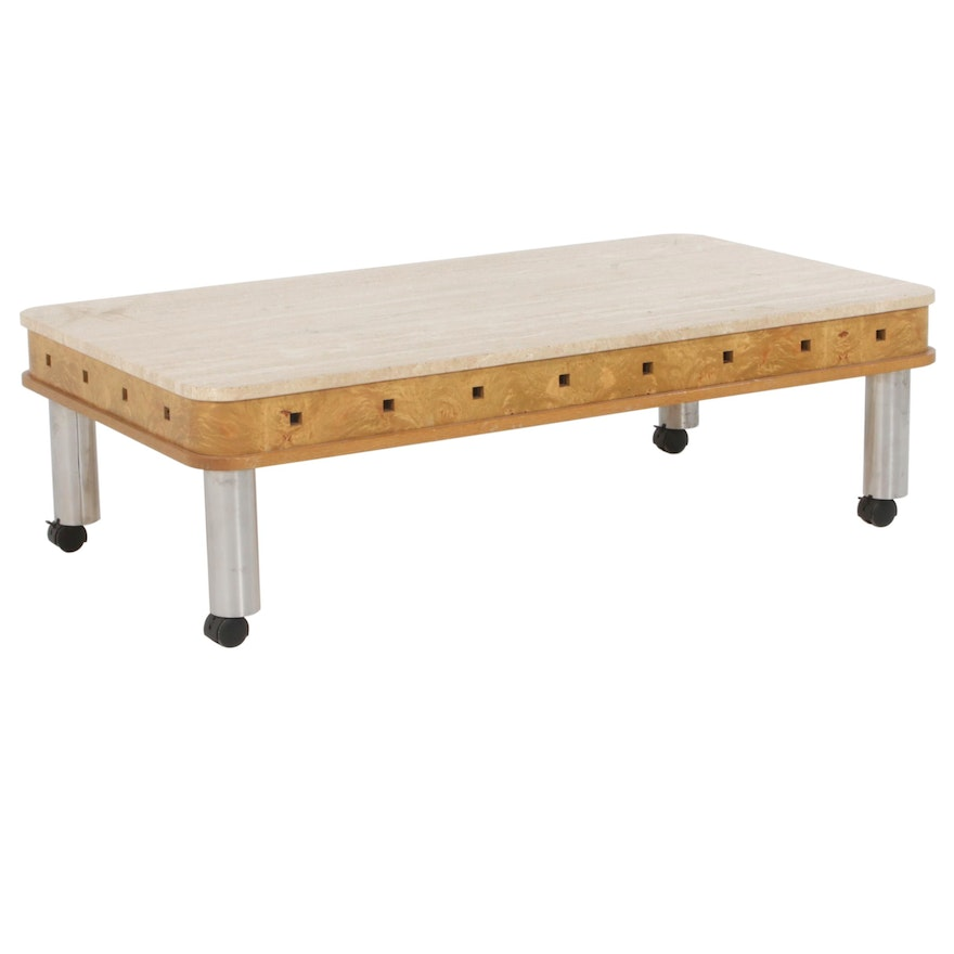 Modernist Style Travertine, Oak and Birch Coffee Table, Mid to Late 20th Century