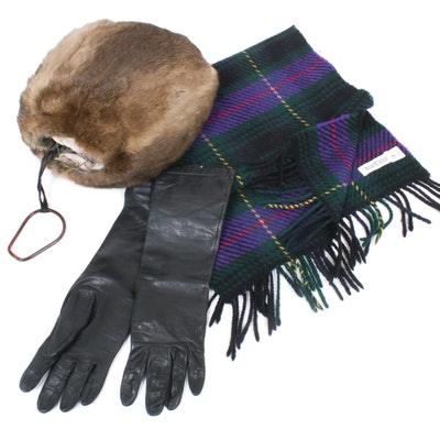 Squirrel Fur Muff, Ann Taylor Plaid Lambswool Scarf and Black Leather Gloves