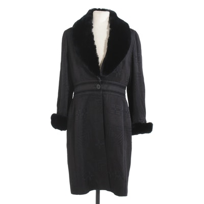 Sunny Choi Black Silk and Wool Blend Patterned Coat with Rabbit Fur Trim