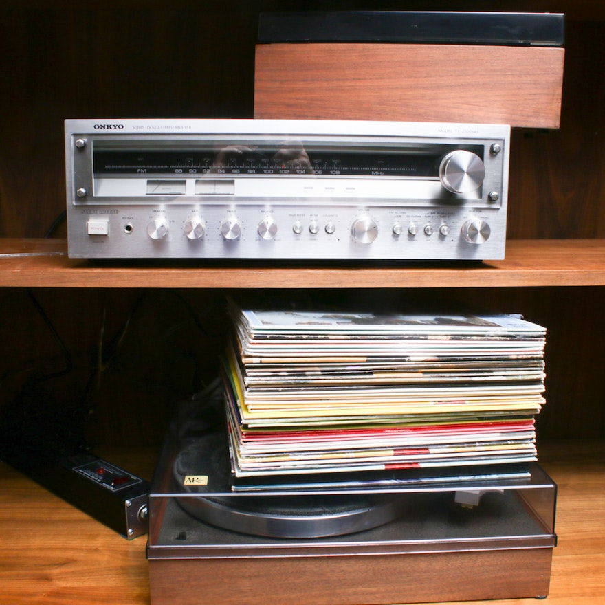 Onkyo Stereo Receiver, AR Inc. Turntable, Advent Cassette Recorder and Records