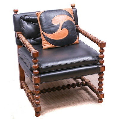Baroque Style Spool-Turned Armchair with Throw Pillow, Mid to Late 20th C.