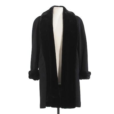 Henri Bendel New York Black Wool Open Front Coat Trimmed in Faux Fur