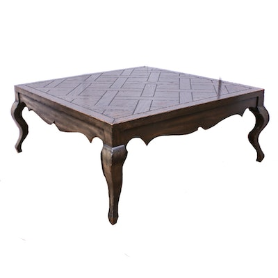 Parquet Top Wooden Coffee Table, Mid to Late 20th Century