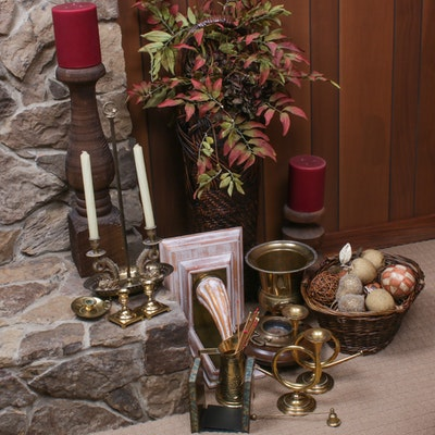 Brass and Wood Candle Holders and Other Home Décor