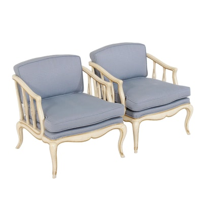 French Provincial Style Antiqued White Armchairs, Pair, Mid to Late 20th C.