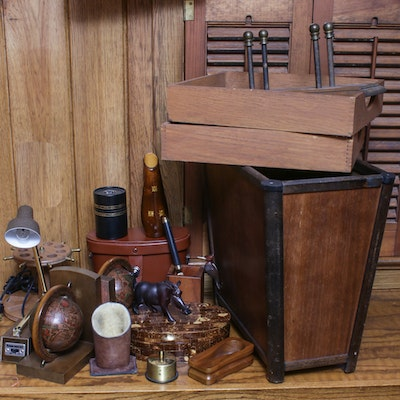 Office Accessories Including Wood and Leather, Mid to Late 20th Century