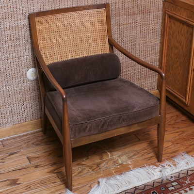 Mid Century Modern Corduroy Upholstered Cane Back Armchair, Mid-20th C.