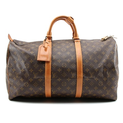 Louis Vuitton Paris Monogram Canvas Keepall 50 Duffel Bag