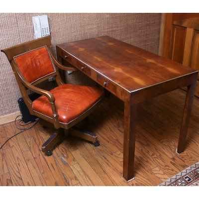 Fine Arts Furniture Yew Wood Writing Table and Leather Office Chair, Mid-20th C.
