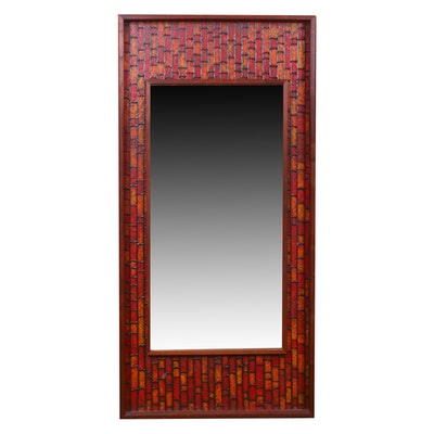 Mid Century Modern Wood Framed Wall Mirror, Mid-20th Century