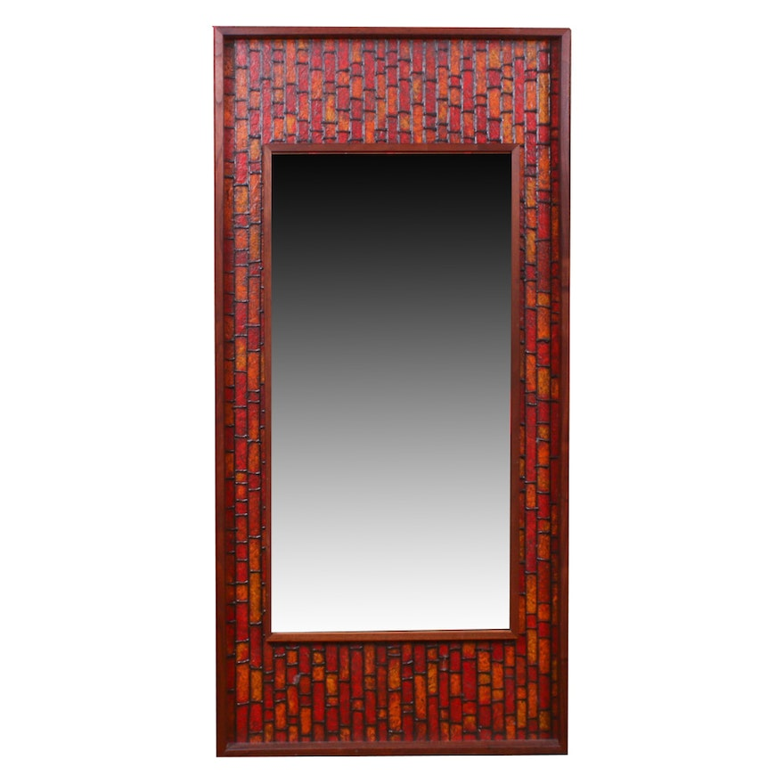 Mid Century Modern Wood Framed Wall Mirror, Mid-20th Century
