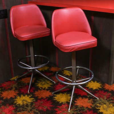 Admiral Chrome Corp. Red Vinyl Upholstered Barstools, Mid-20th Century