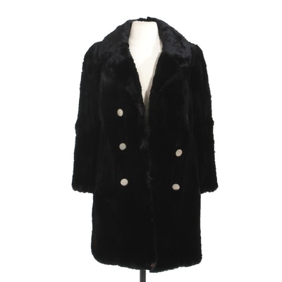 Sheared Black Rabbit Fur Double-Breasted Coat, Vintage