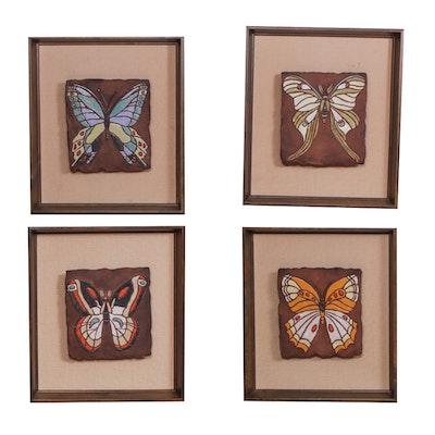 "Peggy Hagel ""Butterflies on Linen"" Set, Mid Century Modern"
