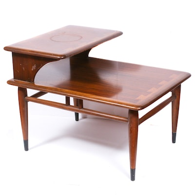 "Andre Bus for Lane Mid Century Modern ""Acclaim"" Tiered Walnut End Table"