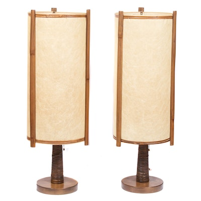 Mid Century Modern Bamboo and Rattan Table Lamps, Mid-20th Century