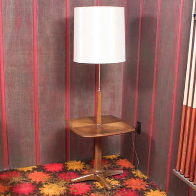 Mid Century Modern Wood Lamp Table, Mid-20th Century