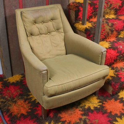 Olive Green Tufted Armchair, Mid-20th Century