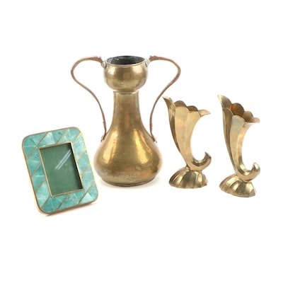 Arts and Crafts Hammered Brass Vase and Fan Vases with Stone Picture Frame