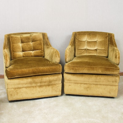 Mid-Century Modern Velveteen Swivel Club Chairs, Mid-20th Century