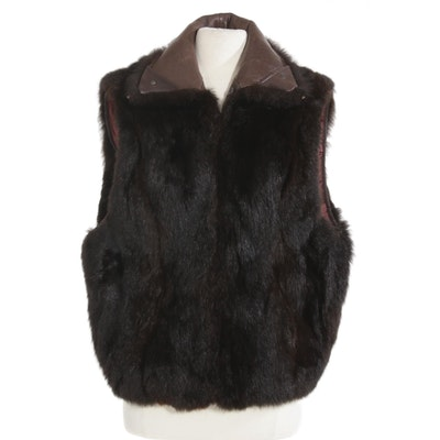 Andrew Marc Opossum Fur and Leather Zip Vest