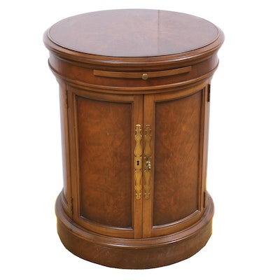 Tomlinson Furniture Drum Cabinet Wood Table, Mid-20th Century