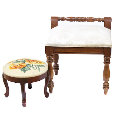 Hooker Furniture Vanity Stool and Needlepoint Footstool, Mid to Late 20th C.