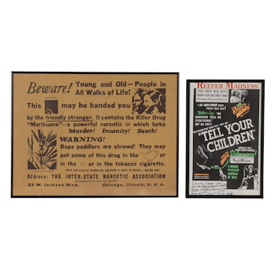 """Thelma White Autographed """"Reefer Madness"""" Flyer and Copy Cannabis Warning Poster"""