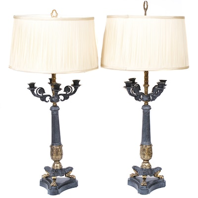 Regency Style Brass and Cast Iron Candelabra Lamps, Mid-20th Century