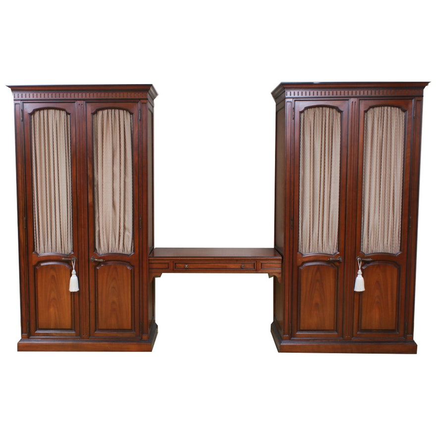 Kindel Furniture Walnut Armoires with Vanity, Mid to Late 20th Century