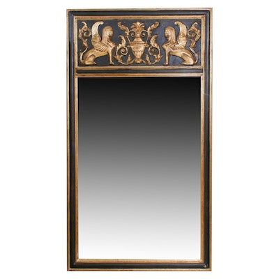 Egyptian Revival Gilt and Black Accent Mirror, Mid to Late 20th Century
