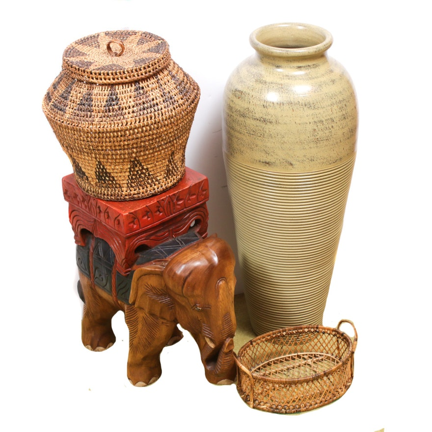 Hand-Crafted Wooden Elephant Side Table, Baskets and Ceramic Floor Vase