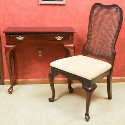 Queen Anne Style Hall Table and Side Chair, Late 20th Century
