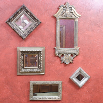 Antiqued Finish Gesso Framed Accent Mirrors, Contemporary