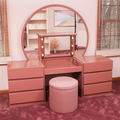 Deco Revival Style Mauve Painted Vanity with Stool, Late 20th Century