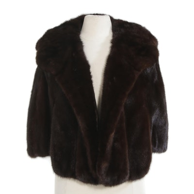 Mahogany Mink Fur Capelet with Shawl Collar, Mid-20th Century