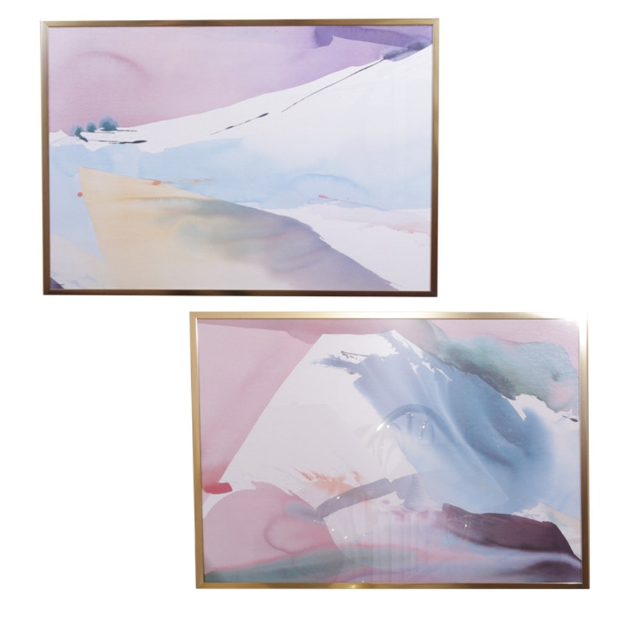 """Abstract Offset Lithograph Prints """"Diptyca"""""""