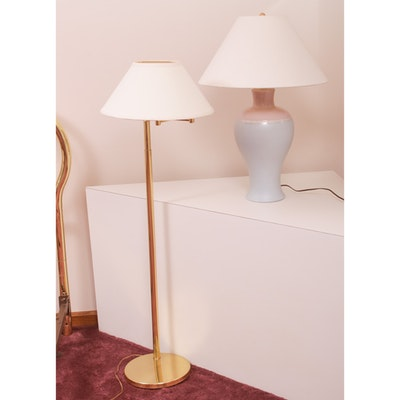 Brass Swing Arm Floor Lamp and Ceramic Table Lamp, Late 20th Century